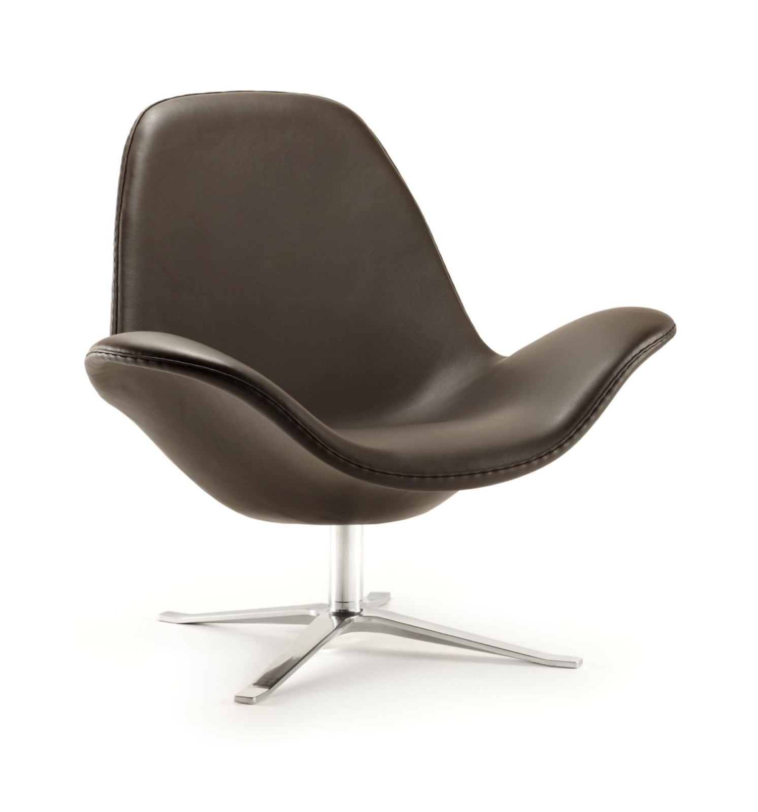 Concord Low Backed Lounge Chair Leather, Chocolate