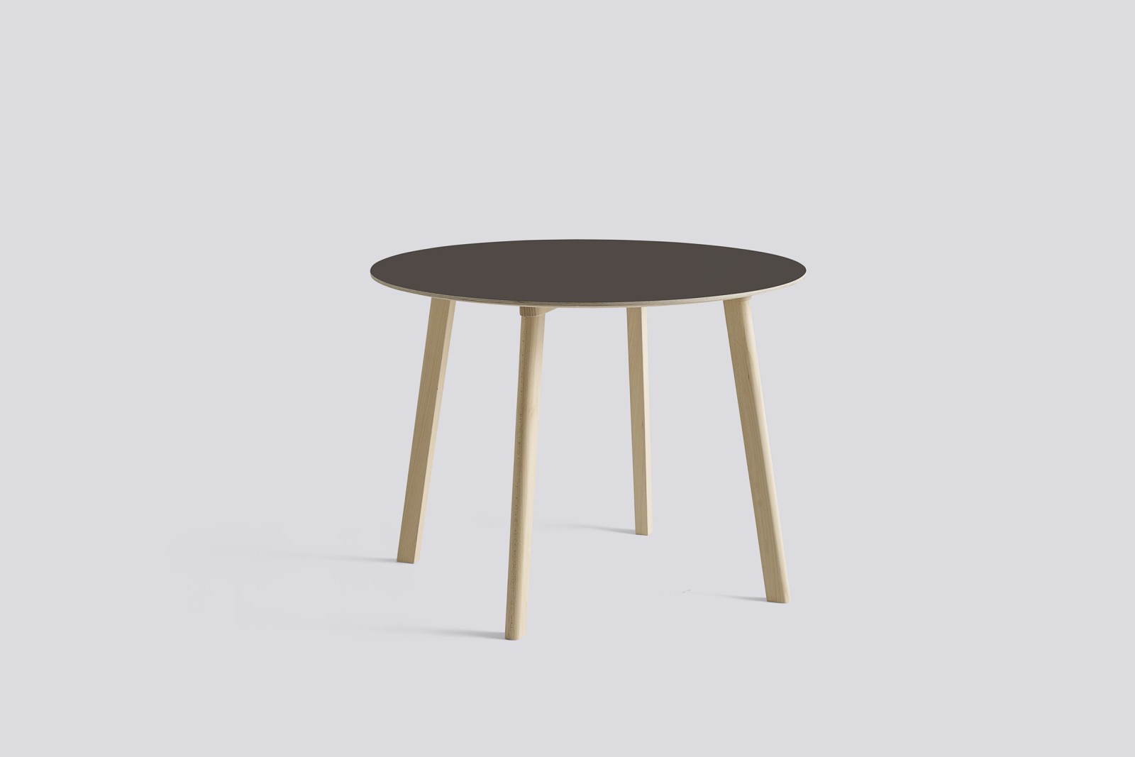 Copenhague Deux (CPH 220) Round Dining Table Beige Grey Laminate Top, Untreated Beech Base, 98cm