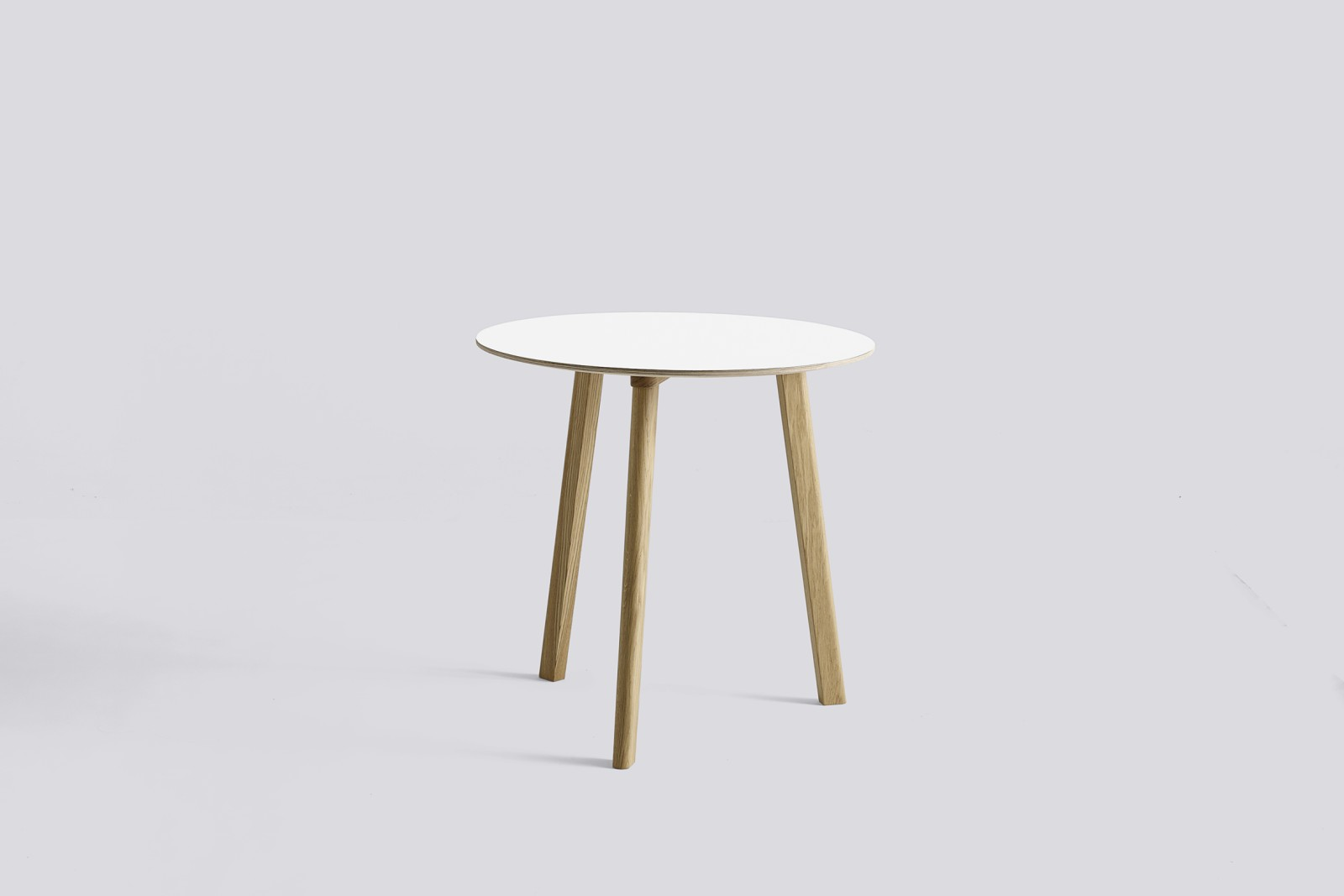 Copenhague Deux (CPH 220) Round Dining Table Pearl White Laminate Top, Matt Lacquered Beech Base, 75
