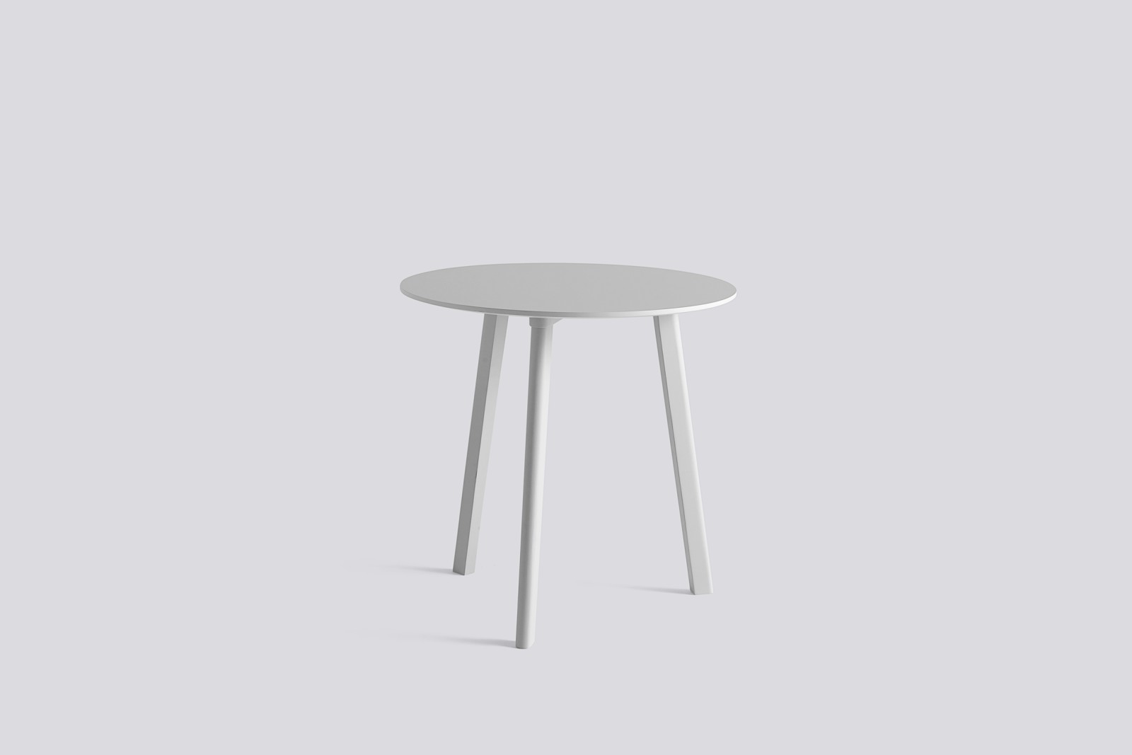 Copenhague Deux (CPH 220) Round Dining Table Pearl White Laminate Top, Pearl White Beech Base, 75 cm