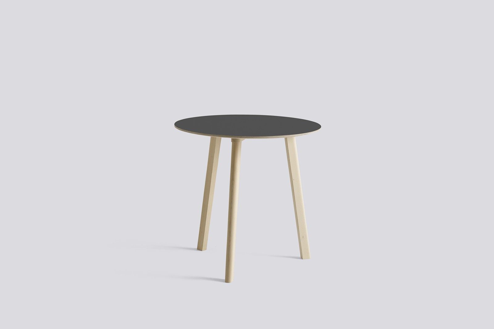 Copenhague Deux (CPH 220) Round Dining Table Stone Grey Laminate Top, Untreated Beech Base, 75 cm