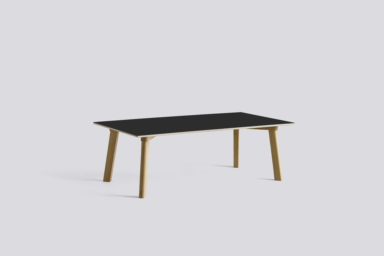 Copenhague Deux (CPH 250) Rectangular Low Table Ink Black Laminate Top, Matt Lacquered Beech Base