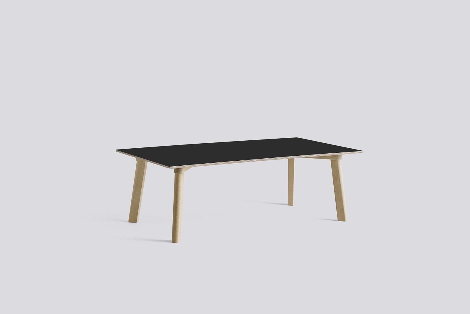 Copenhague Deux (CPH 250) Rectangular Low Table Ink Black Laminate Top, Untreated Beech Base