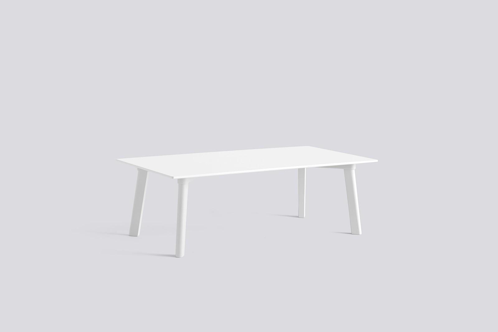 Copenhague Deux (CPH 250) Rectangular Low Table Pearl White Laminate Top, Pearl White Beech Base