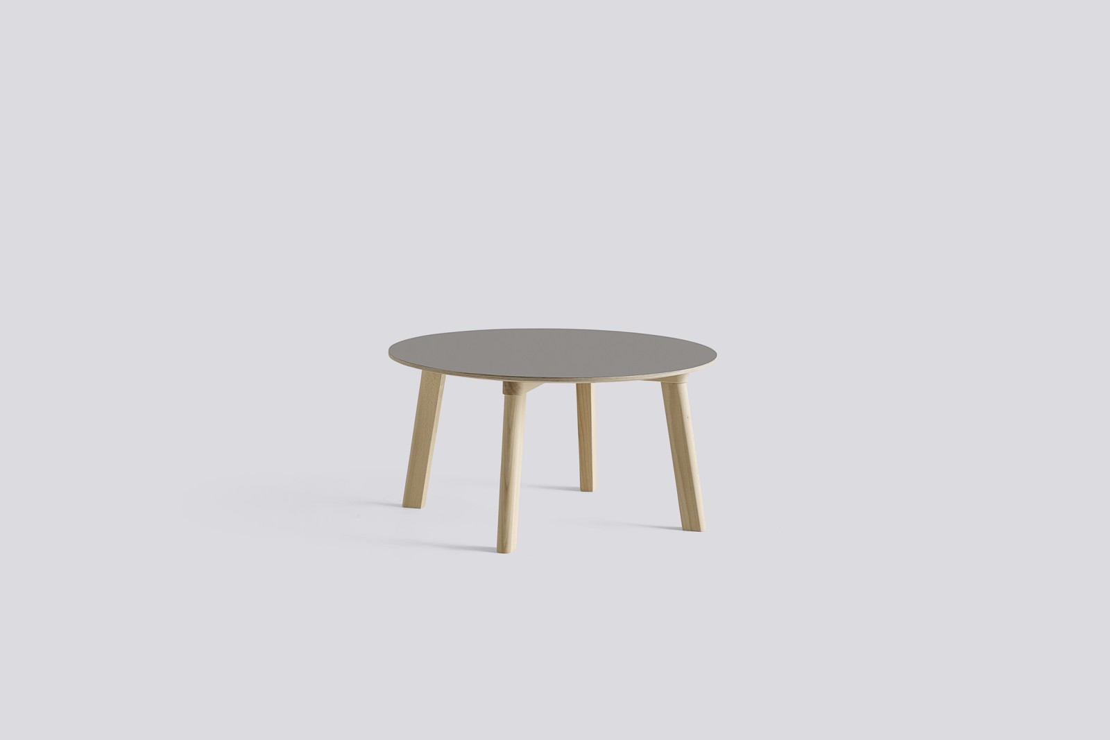 Copenhague Deux (CPH 250) Round Coffee Table Dusty Grey Laminate Top, Untreated Beech Base