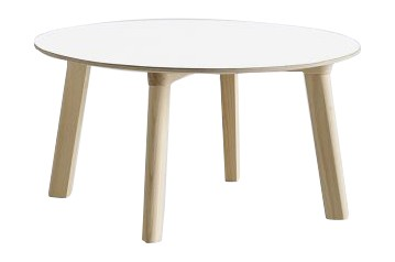 Copenhague Deux (CPH 250) Round Coffee Table Pearl White Laminate Top, Untreated Beech Base