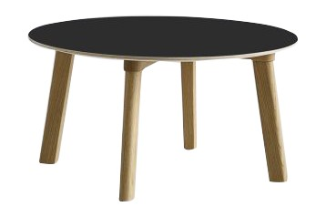 Copenhague Deux (CPH 250) Round Coffee Table Ink Black Laminate Top, Matt Lacquered Beech Base