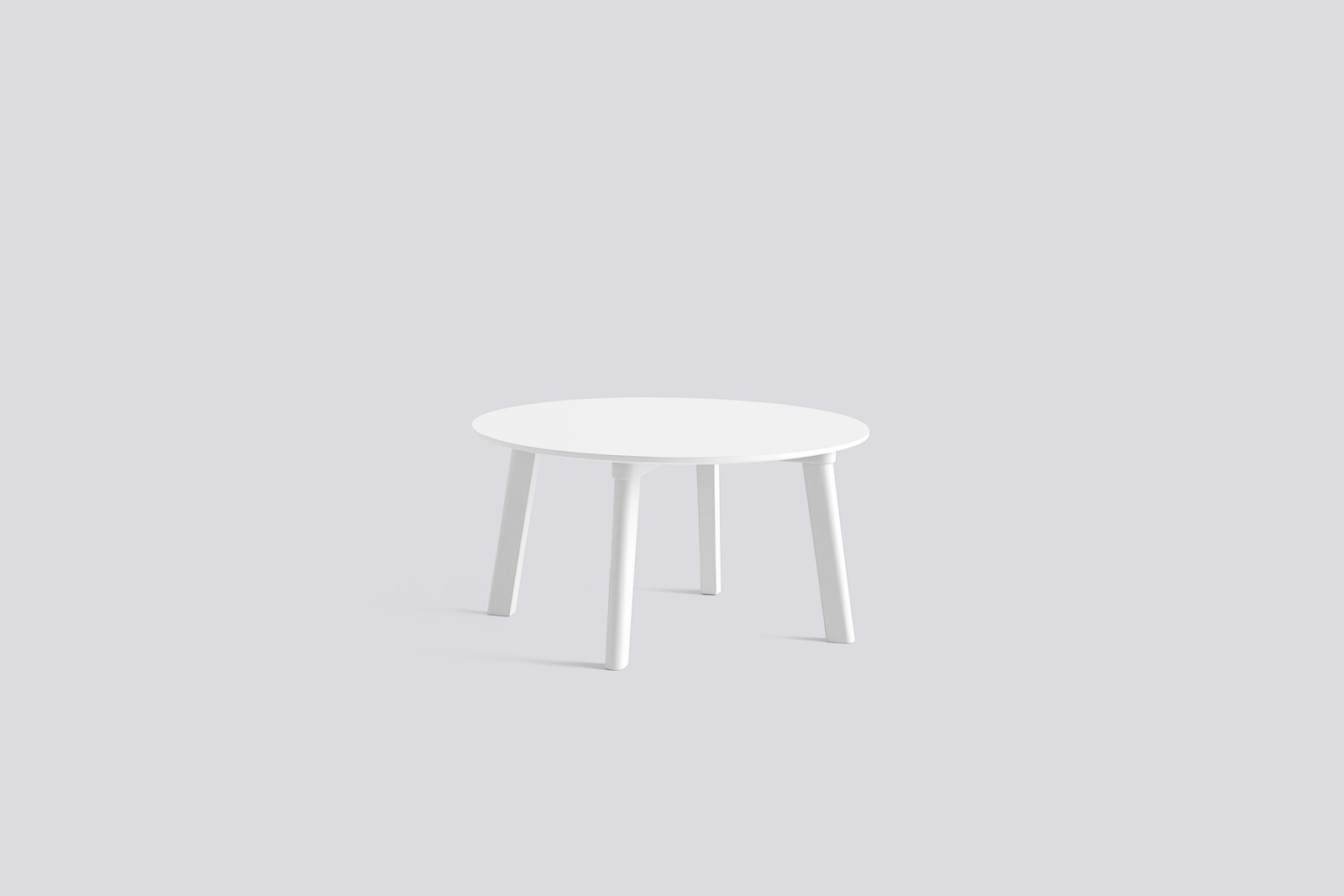 Copenhague Deux (CPH 250) Round Coffee Table Pearl White Laminate Top, Pearl White Beech Base