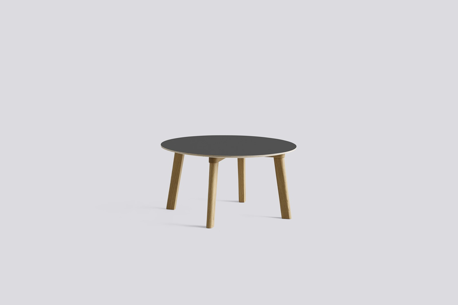 Copenhague Deux (CPH 250) Round Coffee Table Stone Grey Laminate Top, Matt Lacquered Beech Base