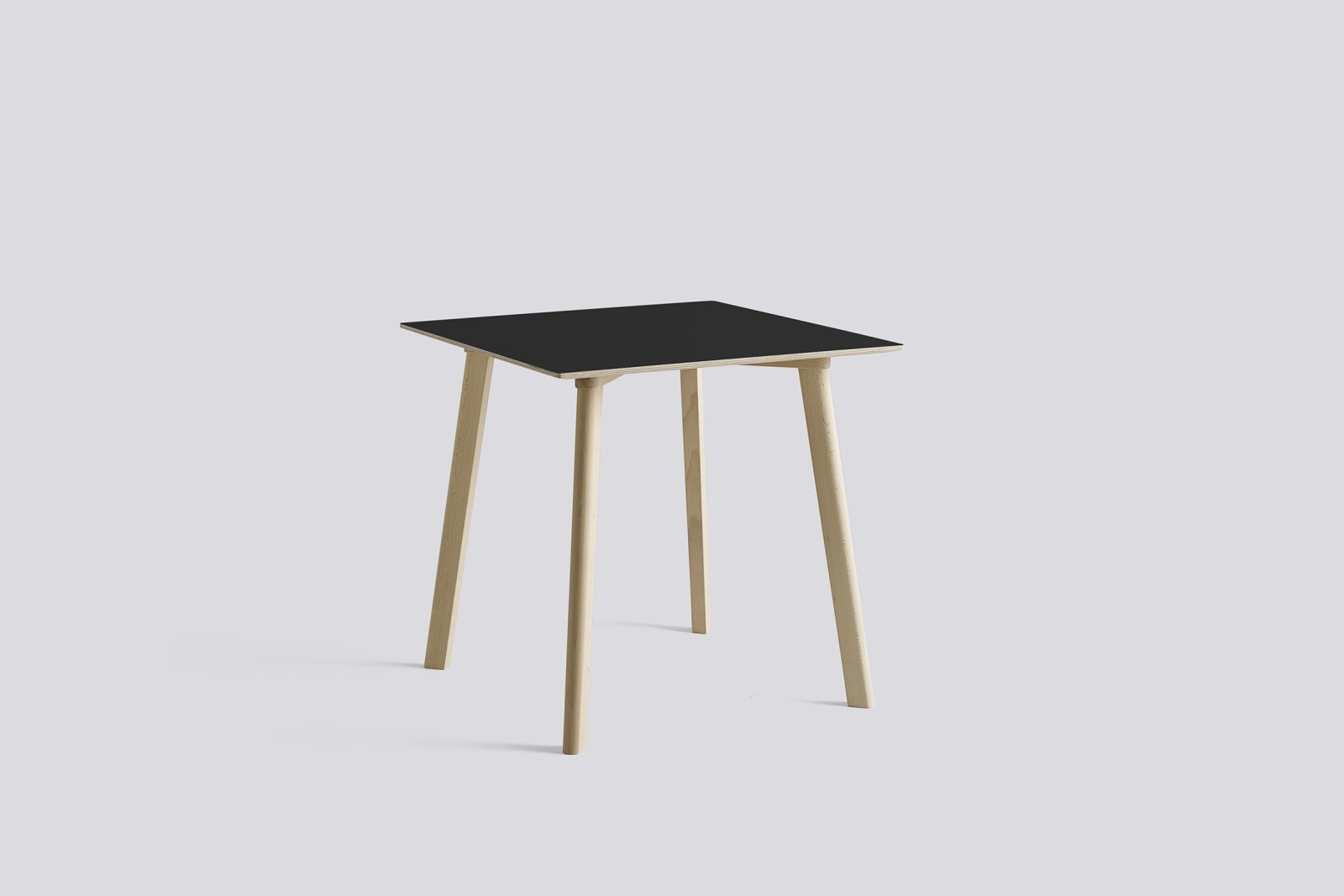 Copenhague Deux (CPH210) Square Dining Table Ink Black Laminate Top, Untreated Solid Beech Base