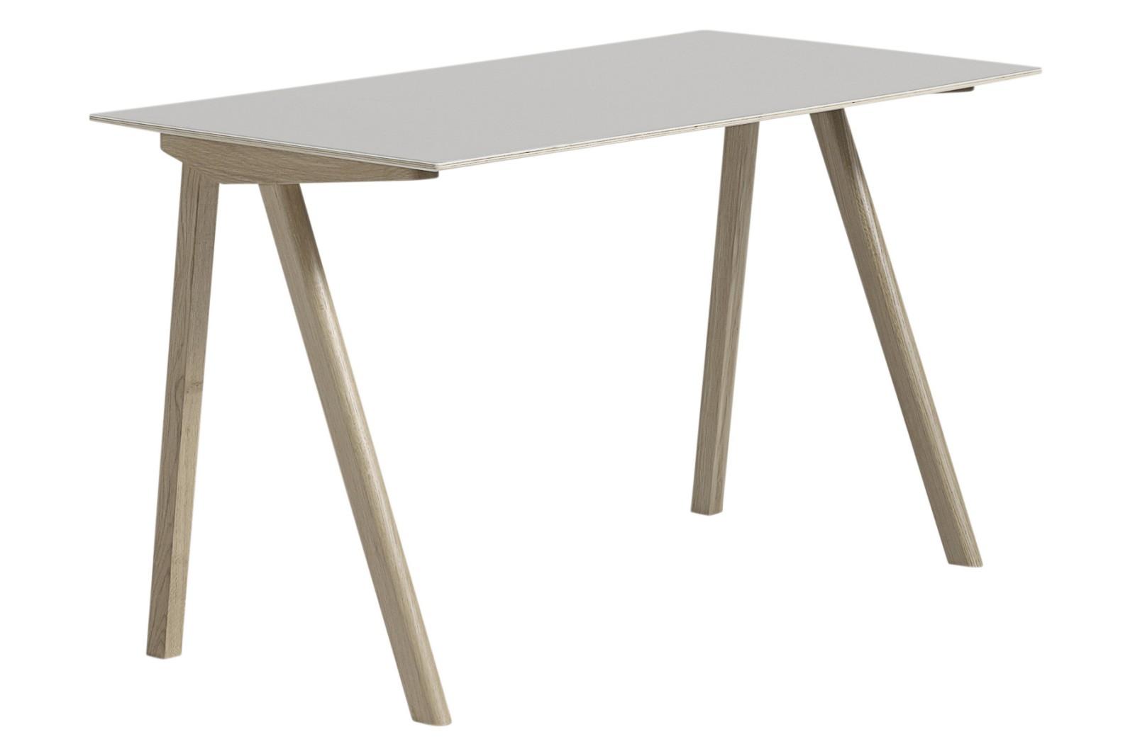 Copenhague Linoleum Top Desk CPH90 Matt Lacquered Solid Oak Base, White Laminate Top