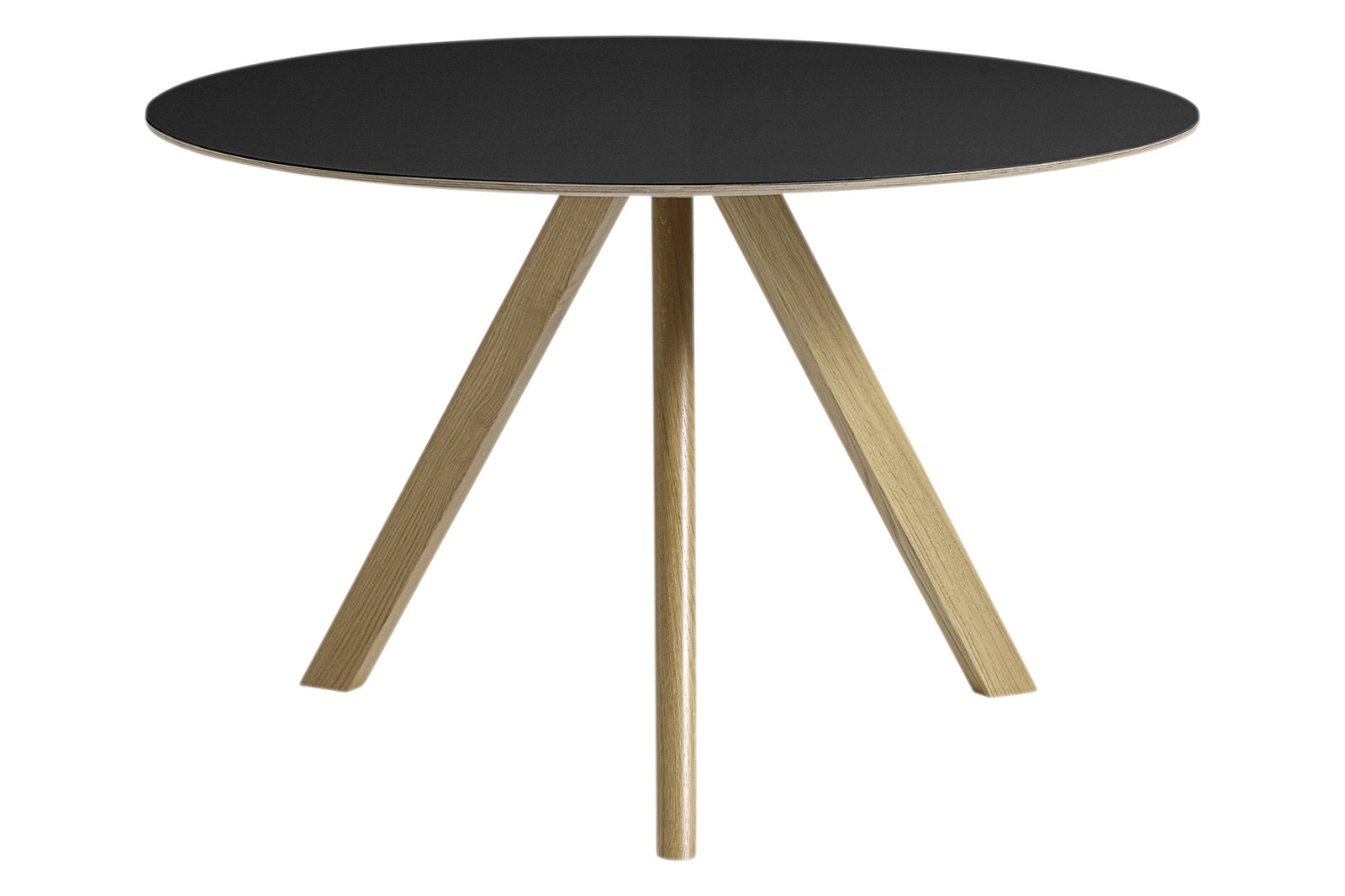 Copenhague Linoleum Top Round Dining Table CPH20 Clear Lacquered Oak Base, Black Top, Large