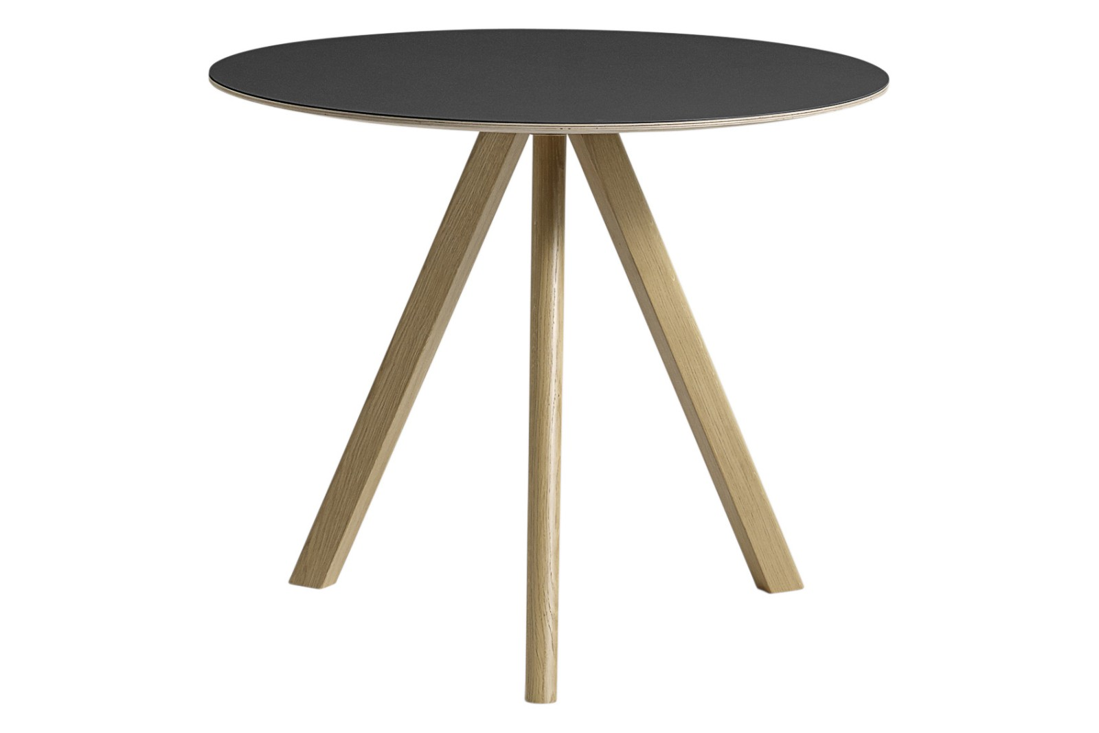Copenhague Linoleum Top Round Dining Table CPH20 Clear Lacquered Oak Base, Black Top, Small
