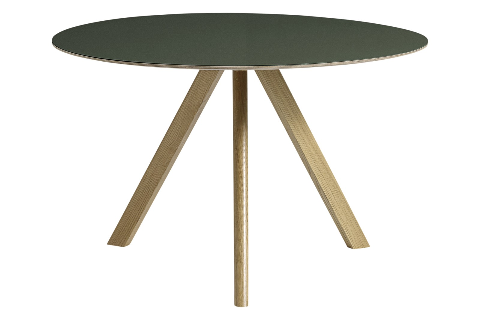 Copenhague Linoleum Top Round Dining Table CPH20 Clear Lacquered Oak Base, Green Top, Large