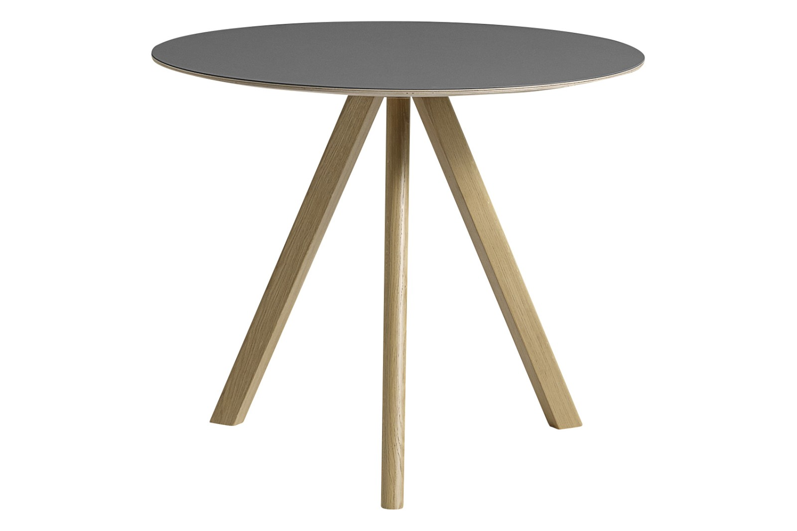 Copenhague Linoleum Top Round Dining Table CPH20 Clear Lacquered Oak Base, Grey Top, Small