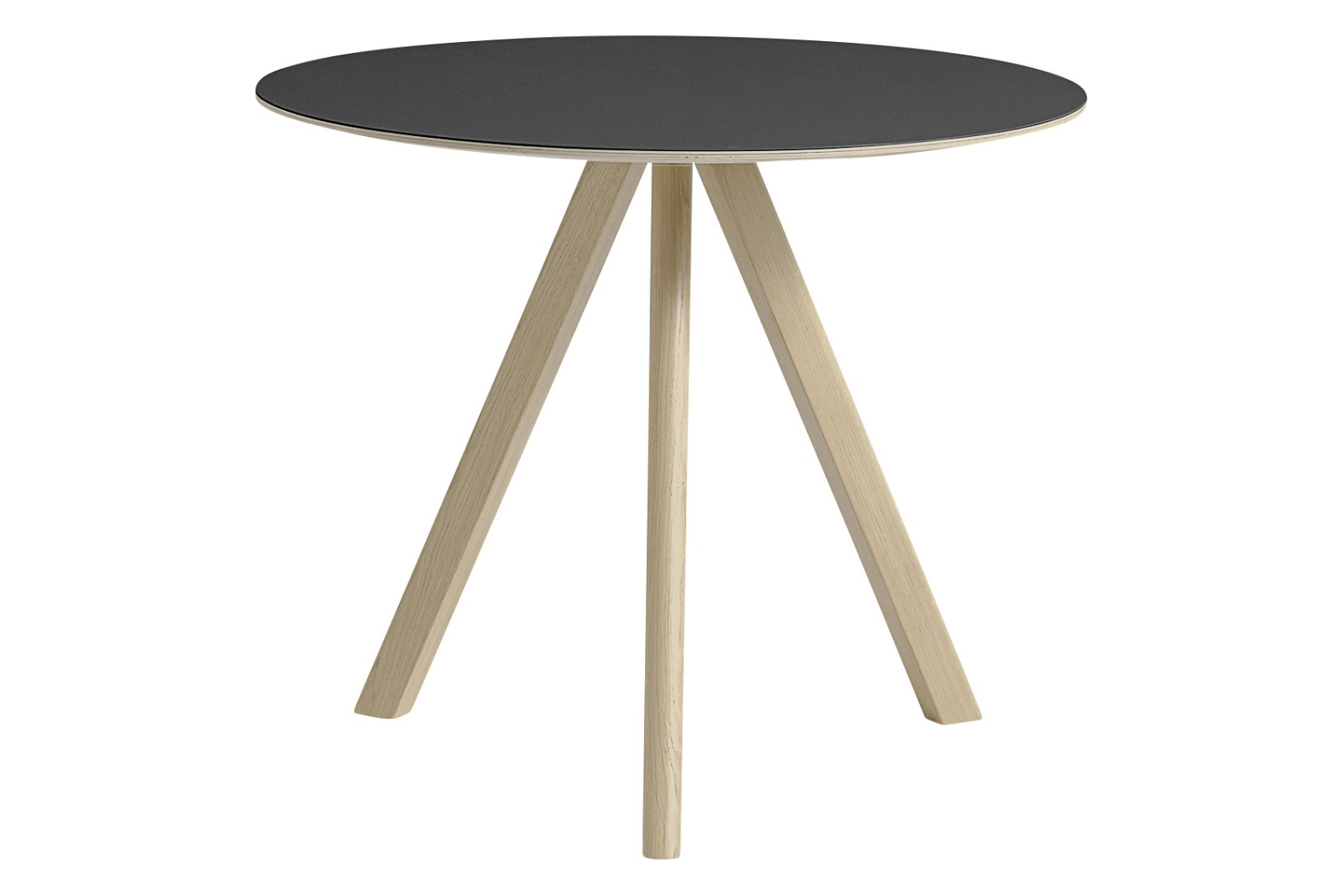Copenhague Linoleum Top Round Dining Table CPH20 Matt Lacquered Oak Base, Black Top, Small