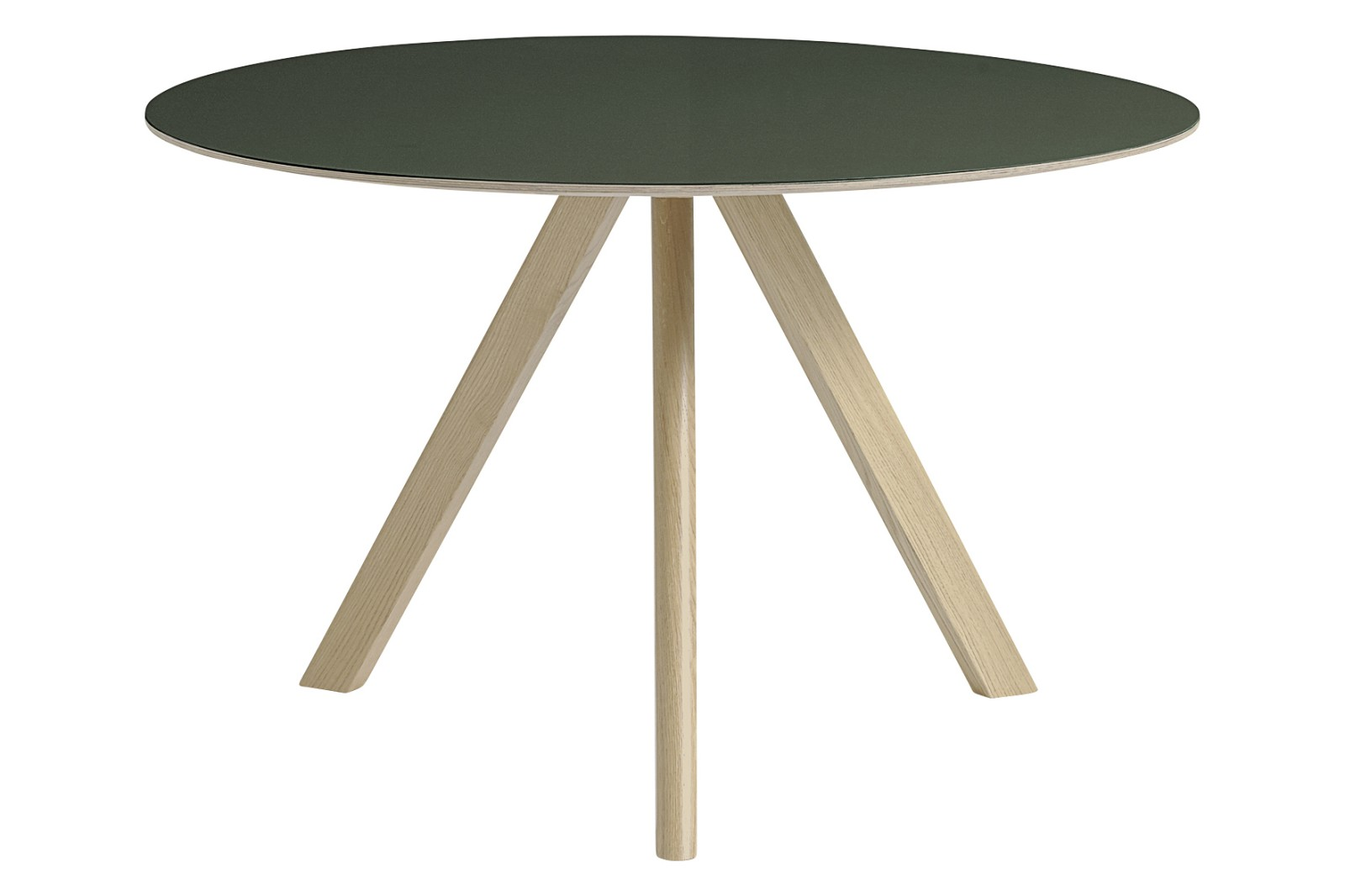 Copenhague Linoleum Top Round Dining Table CPH20 Matt Lacquered Solid Oak Base, Green Linoleum Top,