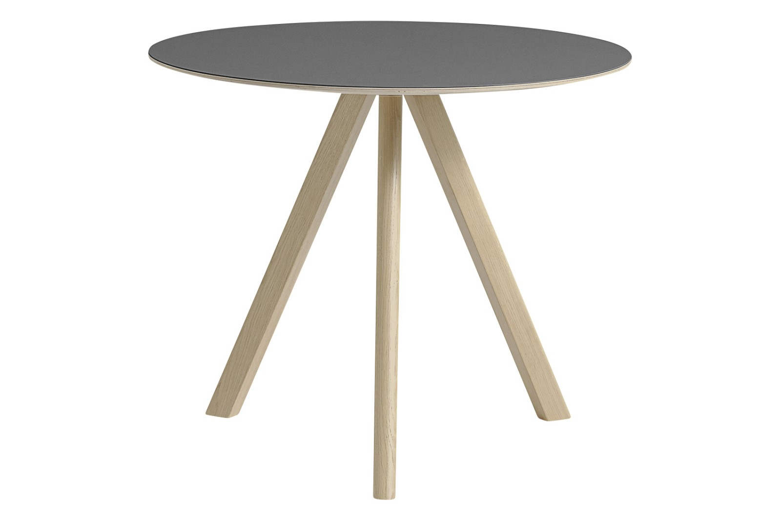 Copenhague Linoleum Top Round Dining Table CPH20 Matt Lacquered Oak Base, Grey Top, Small