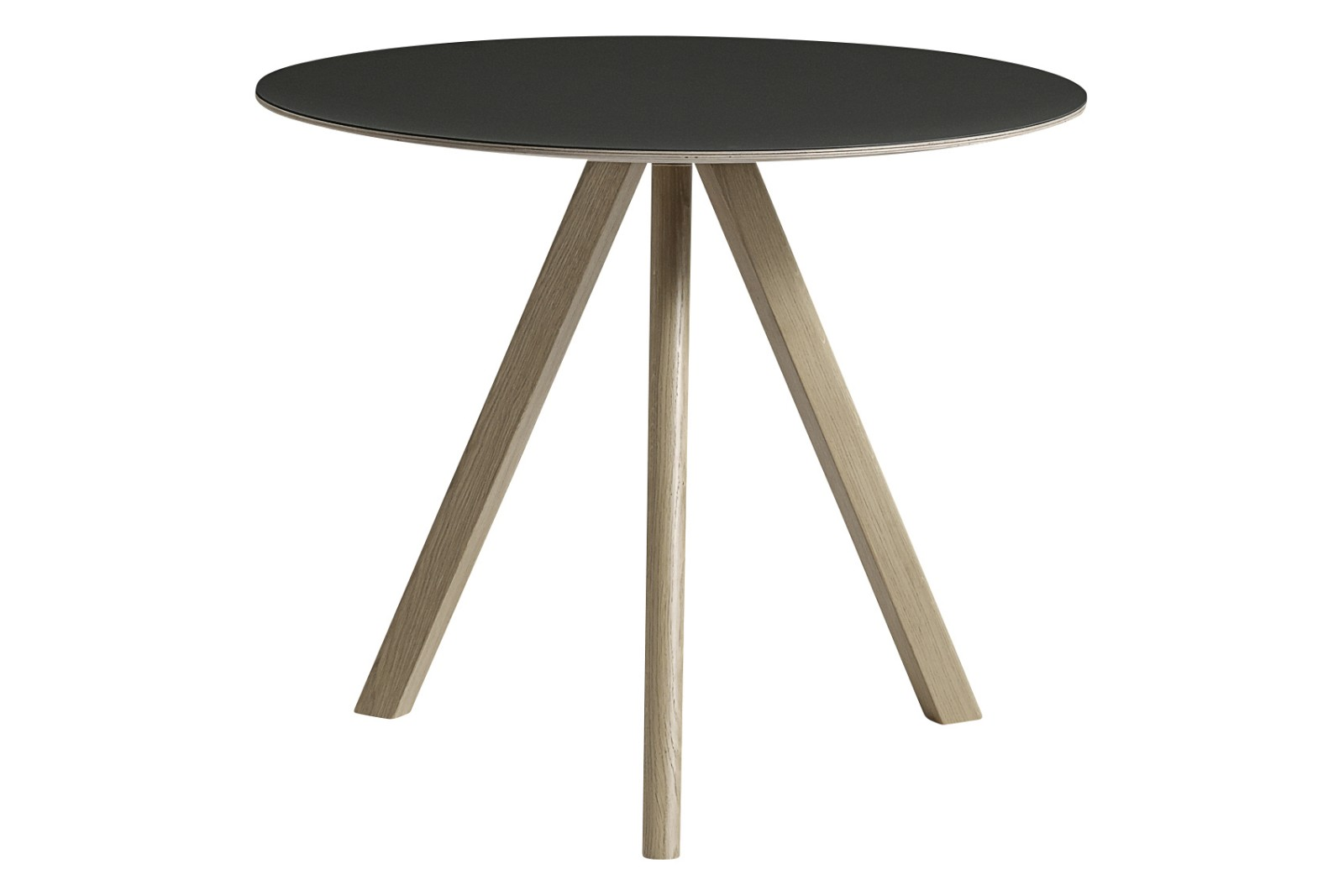 Copenhague Linoleum Top Round Dining Table CPH20 Soaped Solid Oak Base, Black Linoleum Top, Small