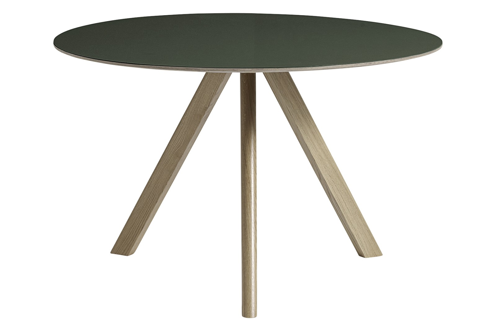 Copenhague Linoleum Top Round Dining Table CPH20 Soap Treated Oak Base, Green Top, Large