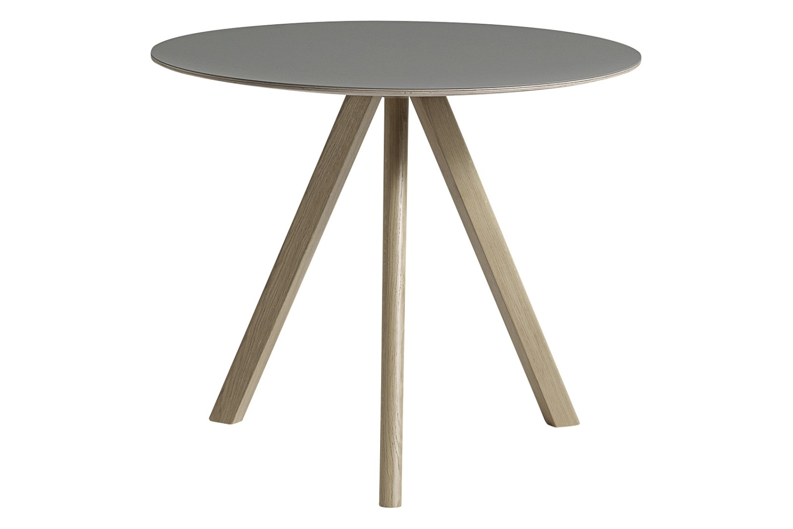 Copenhague Linoleum Top Round Dining Table CPH20 Soap Treated Oak Base, Grey Top, Small