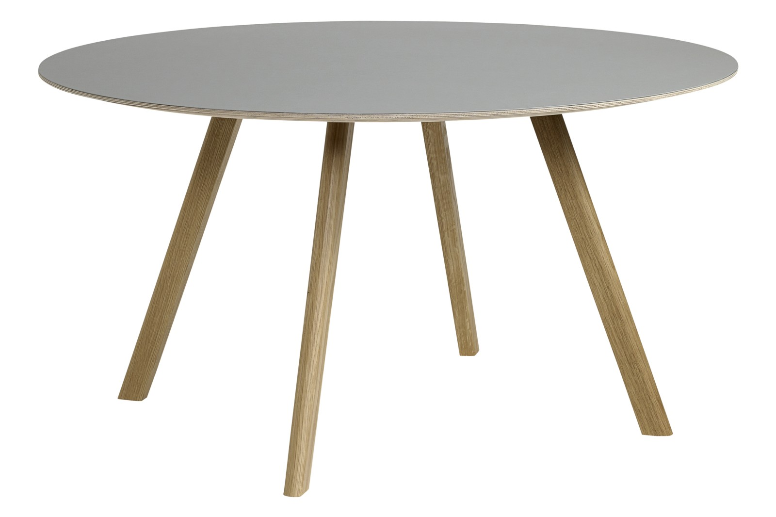 Copenhague Linoleum Top Round Dining Table CPH25 Clear Lacquered Oak Base, Off White Top