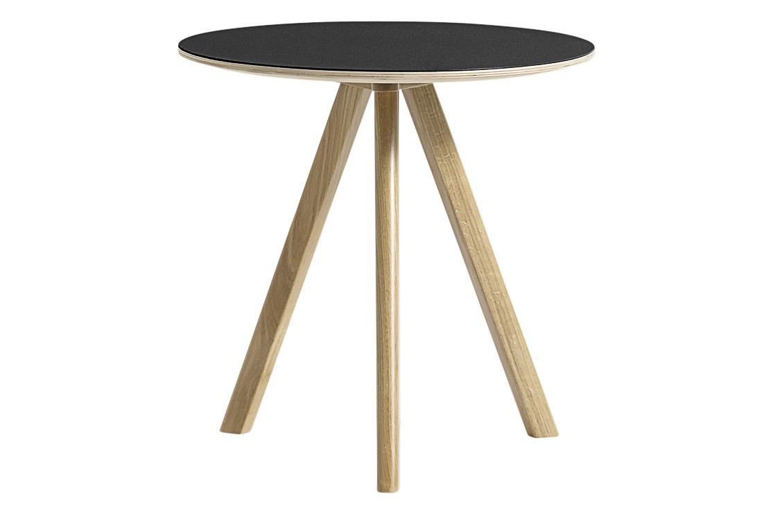 Copenhague Linuleum Top Round Coffee Table CPH20 Clear Lacquered Solid Oak Base, Black Linoleum Top