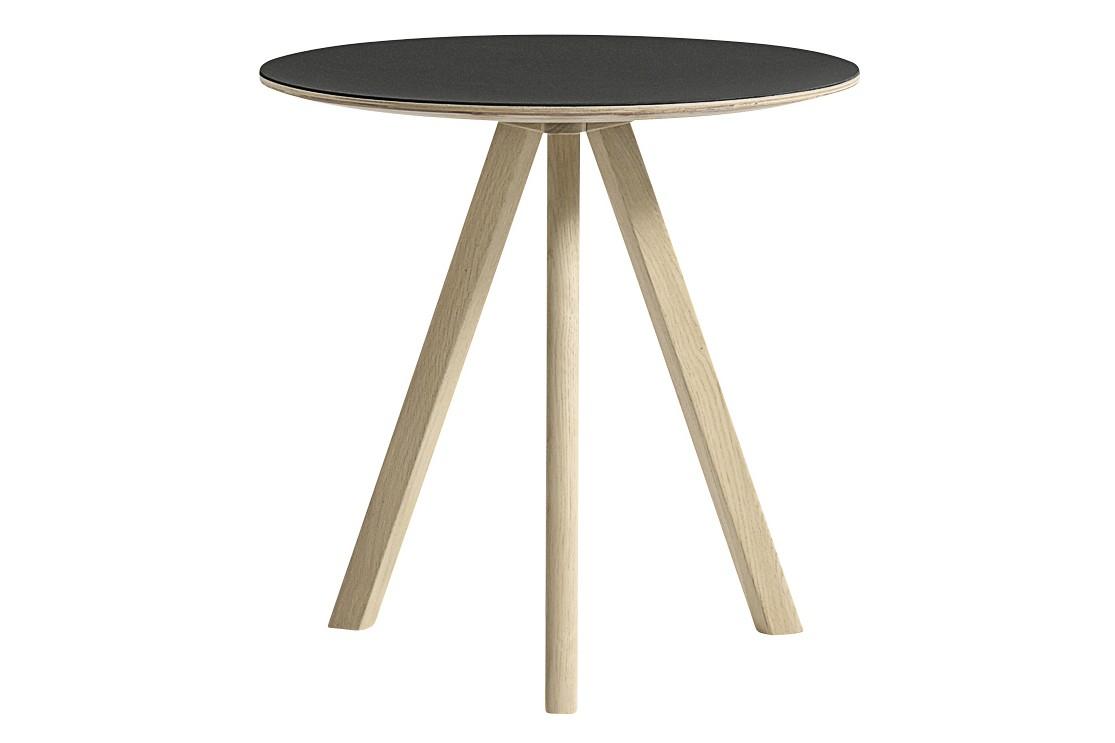 Copenhague Linuleum Top Round Coffee Table CPH20 Matt Lacquered Oak Base, Black Top