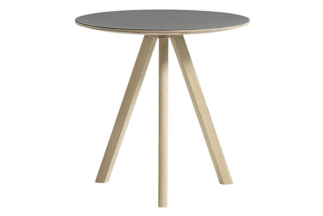 Copenhague Linuleum Top Round Coffee Table CPH20 Matt Lacquered Oak Base, Grey Top