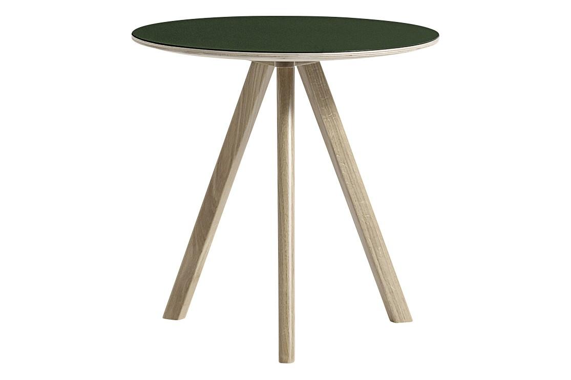 Copenhague Linuleum Top Round Coffee Table CPH20 Soap Treated Oak Base, Black Top