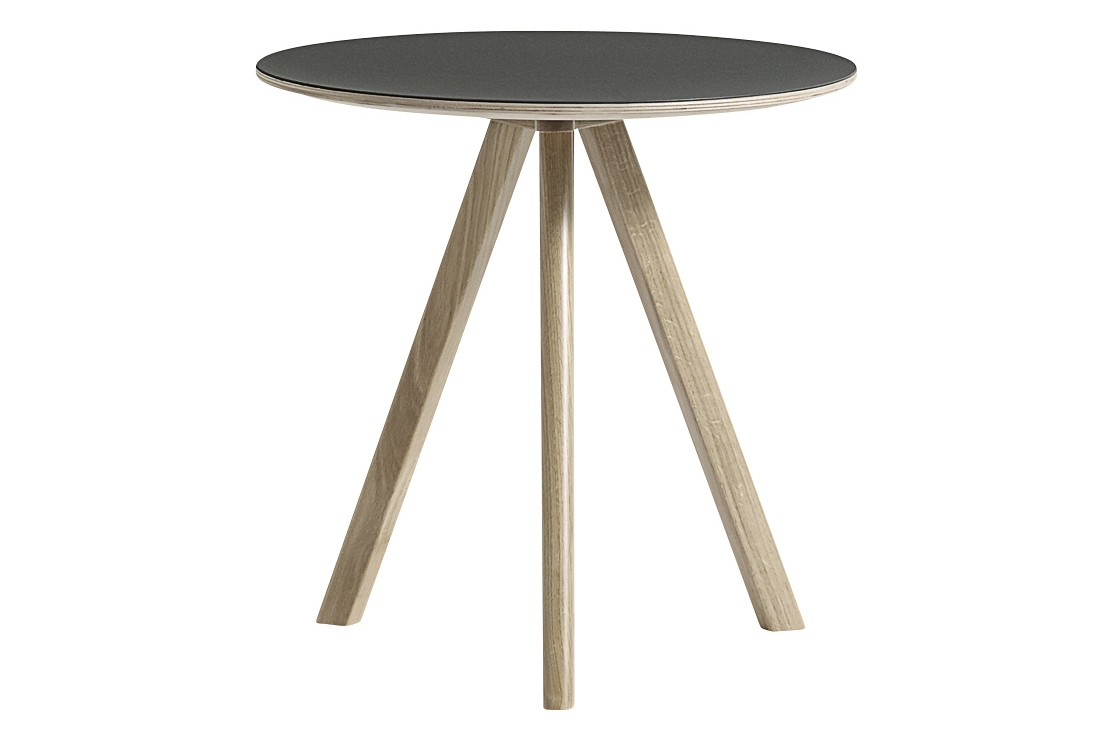 Copenhague Linuleum Top Round Coffee Table CPH20 Soap Treated Oak Base, Green Top