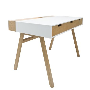Corian Writing Desk White, Flared Legs