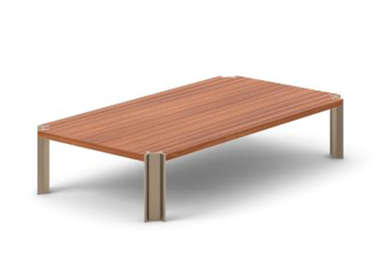 Crossing Coffee Table, Rectangular Super-matt Walnut, Bronze Anodised Aluminium, 150cm