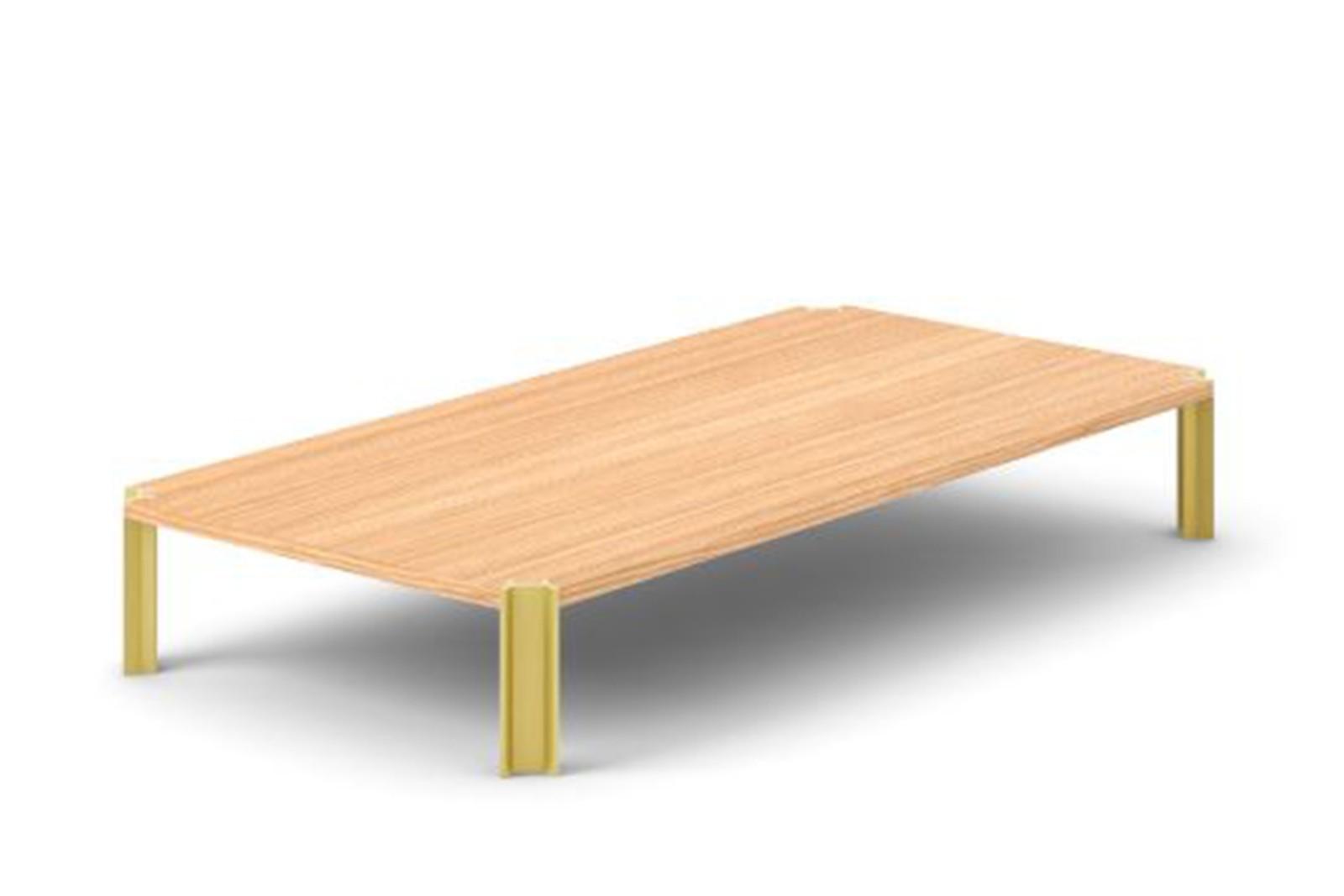 Crossing Coffee Table, Rectangular Super-matt Oak, Gold Anodised Aluminium, 200cm