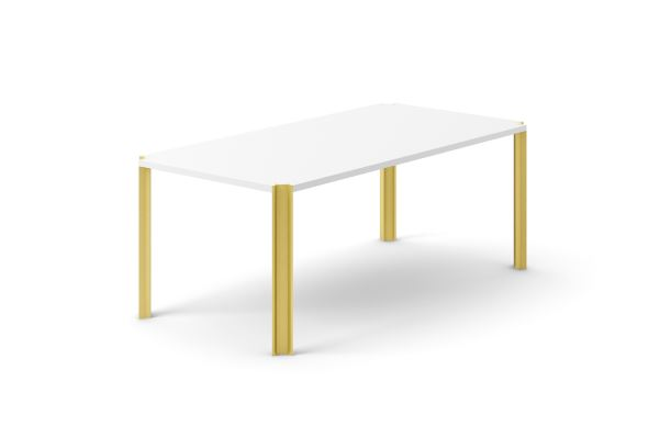 Crossing Dining Table, Rectangular White Open Pore Lacquered On Oak, Gold Anodised Aluminium, 150cm