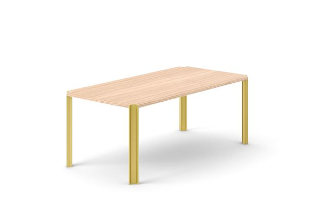 Crossing Dining Table, Rectangular Whitened Oak, Gold Anodised Aluminium, 200cm