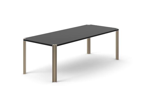 Crossing Dining Table, Rectangular Ebony Stained Oak, Bronze Anodised Aluminium, 240cm