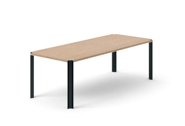 Crossing Dining Table, Rectangular Siena Grey Stained Oak, Black Anodised Aluminium, 240cm