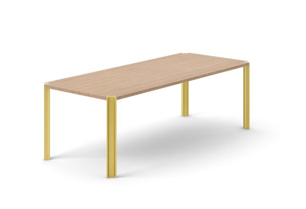 Crossing Dining Table, Rectangular Siena Grey Stained Oak, Gold Anodised Aluminium, 240cm
