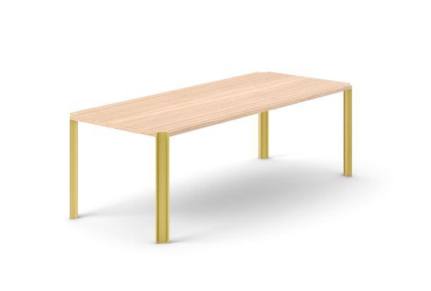 Crossing Dining Table, Rectangular Whitened Oak, Gold Anodised Aluminium, 240cm