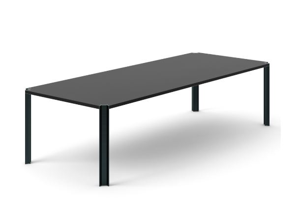 Crossing Dining Table, Rectangular Ebony Stained Oak, Black Anodised Aluminium, 300cm