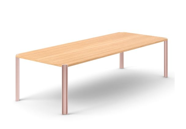 Crossing Dining Table, Rectangular Super-matt Oak, Pale Rose Anodised Aluminium, 300cm