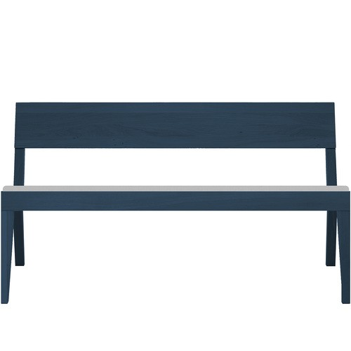 Cubo Bench With Upholstered Seat Petrol Blue, Light Grey