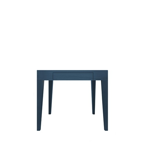 Cubo Square Table With Drawer Oak, Petrol Blue