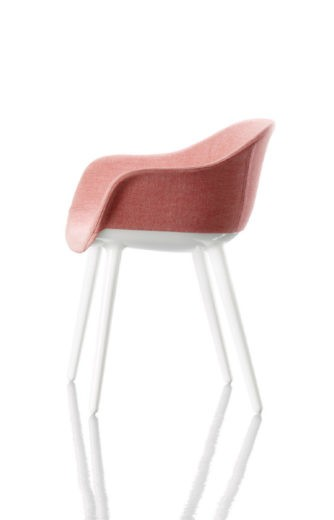 Cyborg Lady Armchair Pink Fabric, White Frame