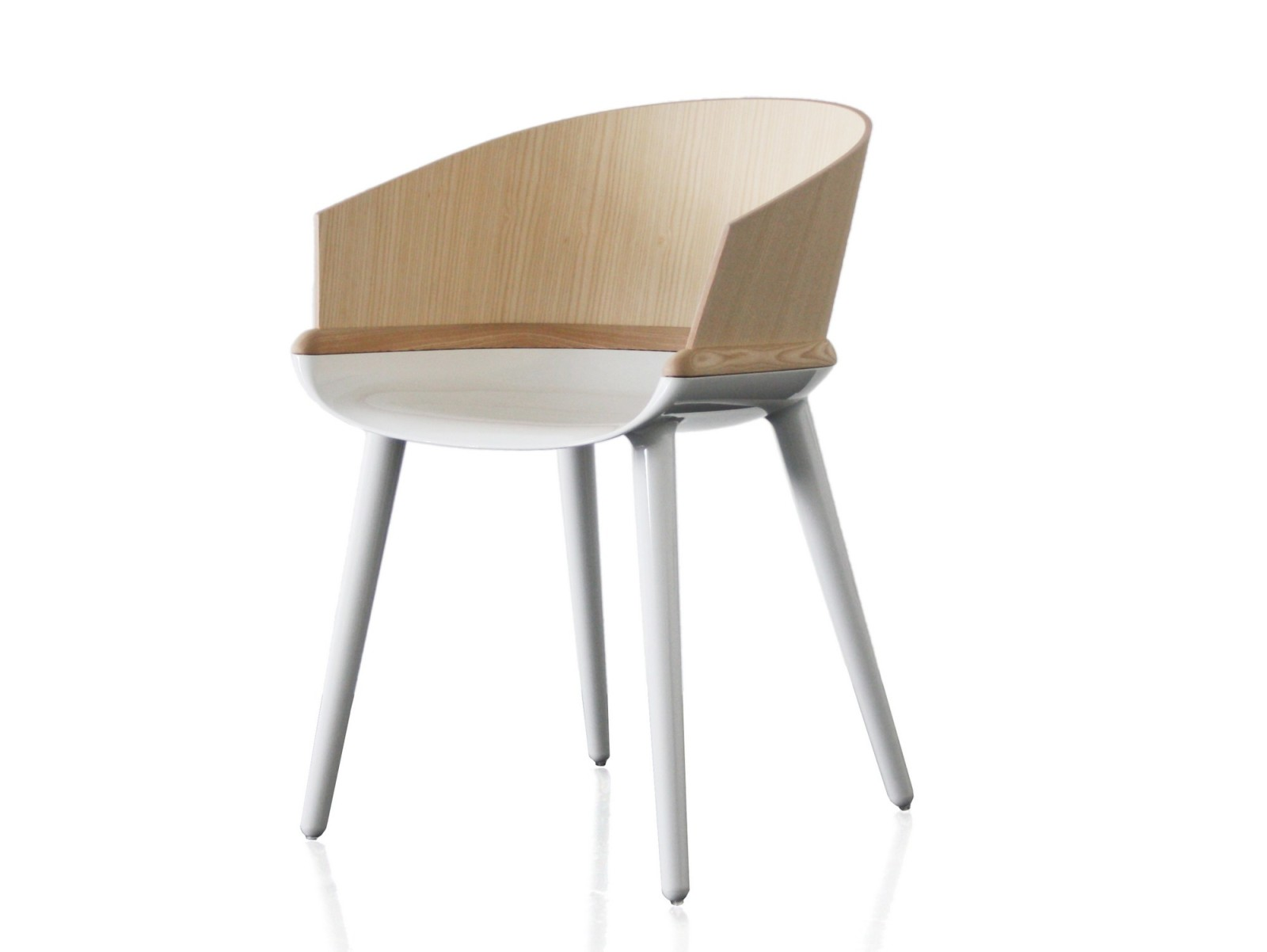 Cyborg Ply Armchair White Base, Natural Back