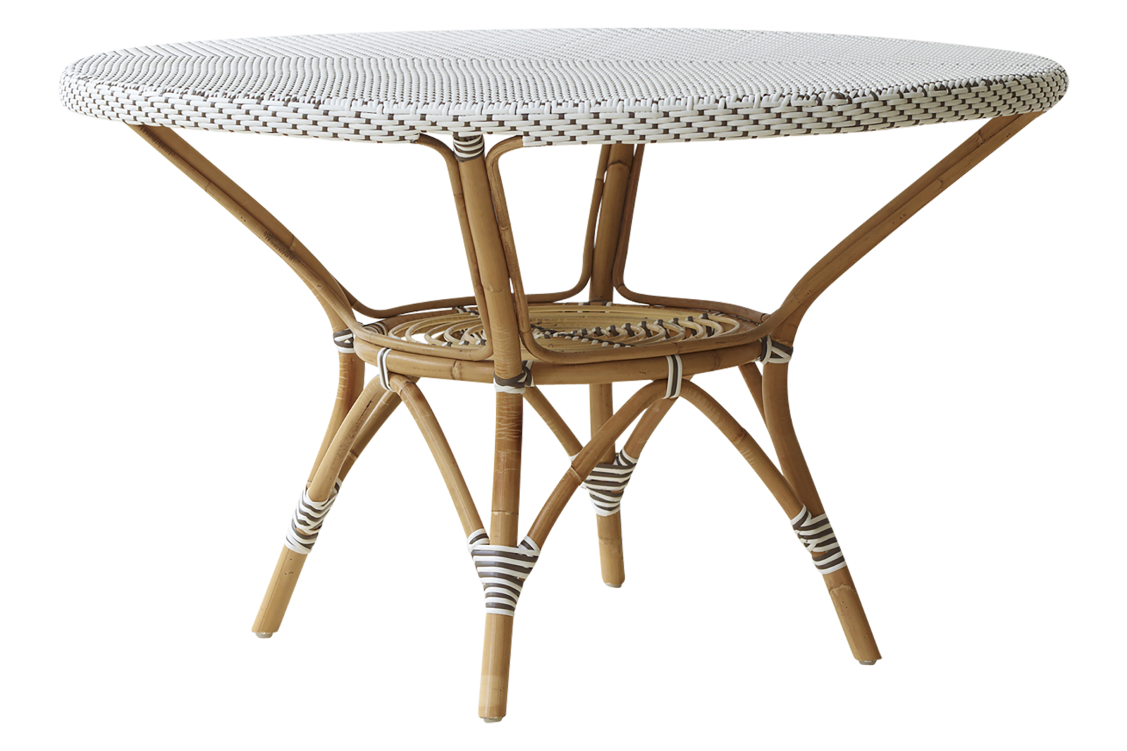Danielle Dining Table with Glass Top White with Cappucino Dot