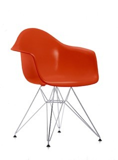 DAR Side Chair 01 Chrome, 89 Oxide red, 04 Glides basic dark for carpet