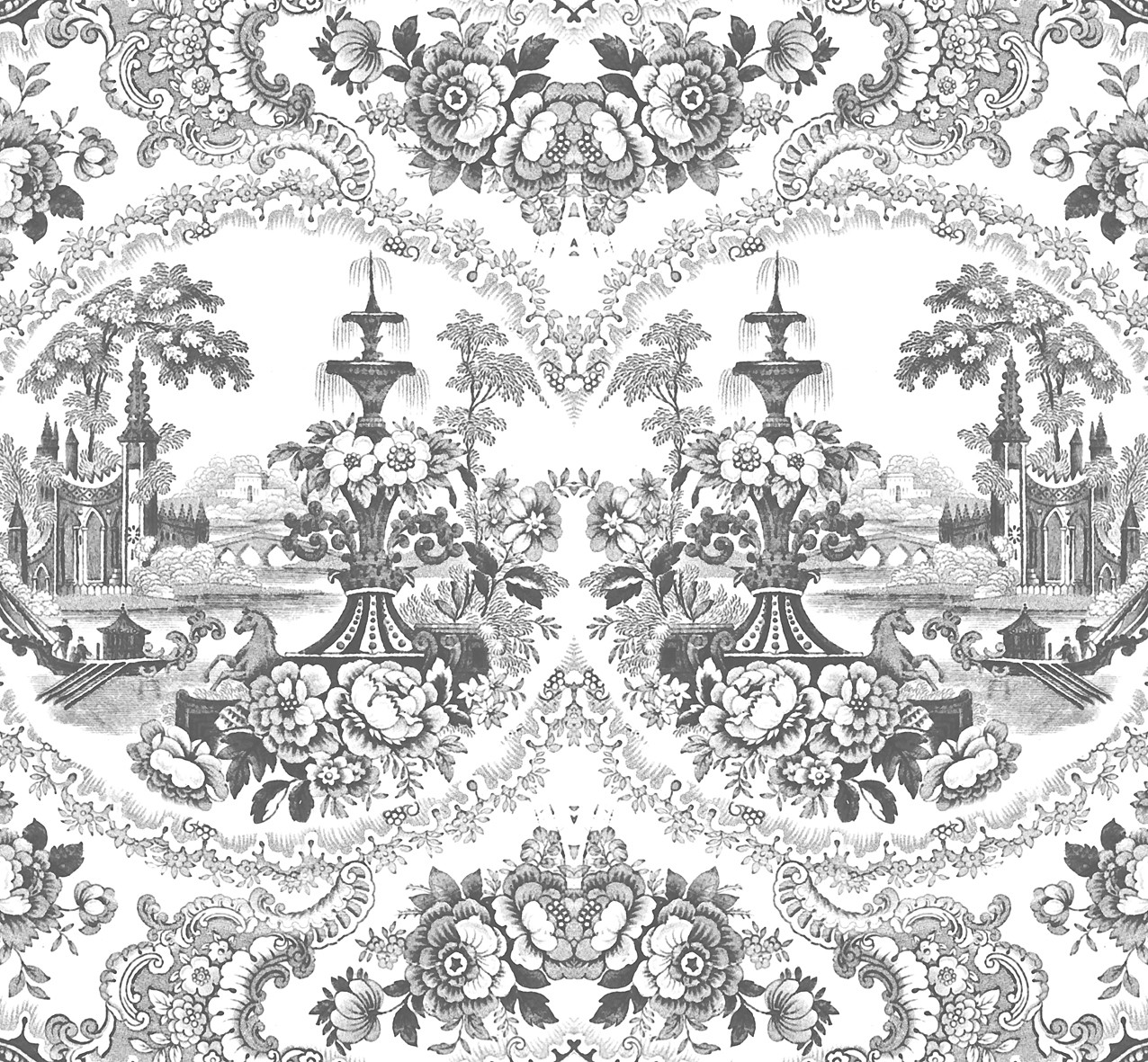 Delft Baroque Wallpaper Black - Delft Baroque Wallpaper