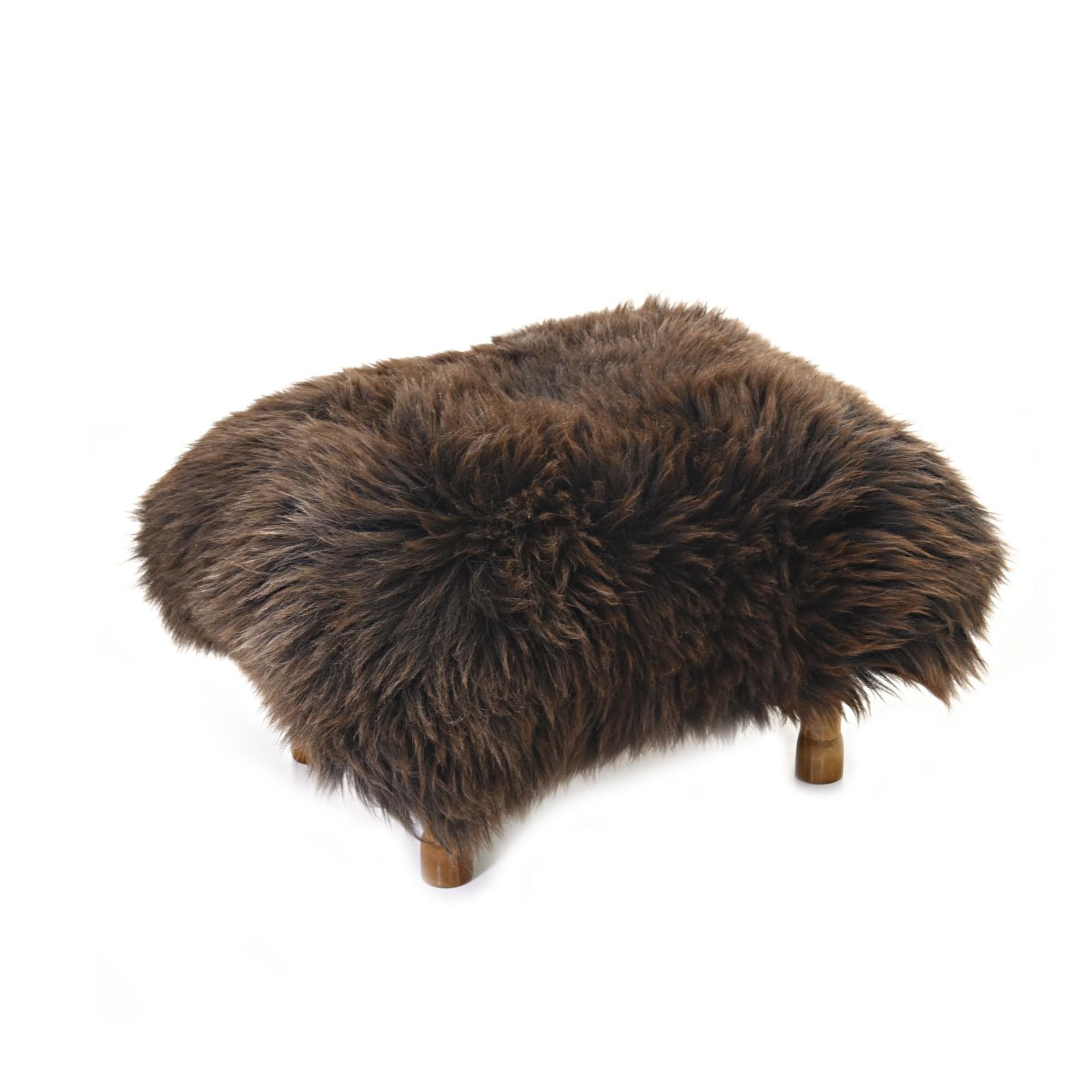 Delyth Sheepskin Footstool Chocolate Brown